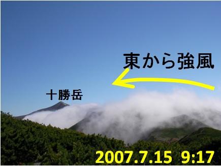 十勝岳 強風