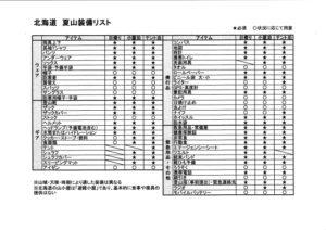 北海道の夏山装備リスト